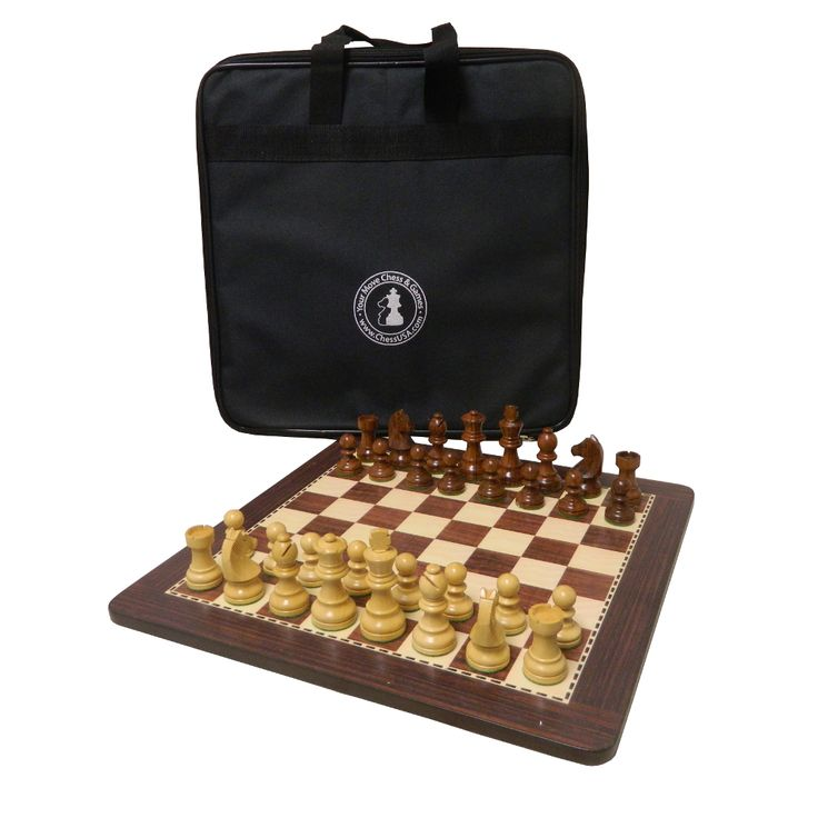 """Check out the deal on 13 1/4"""" Honey Rosewood Chess Set with Carrying Case at Your Move Chess & Games"""