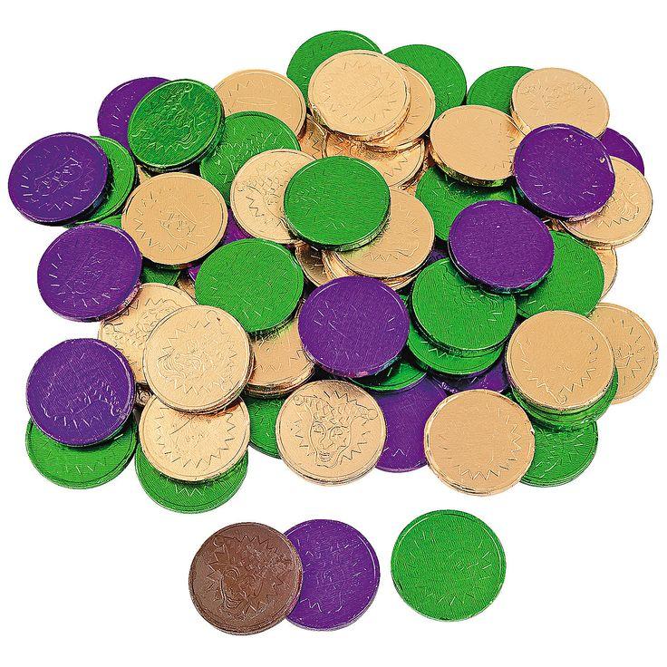 Mardi Gras Chocolate Coins - OrientalTrading.com