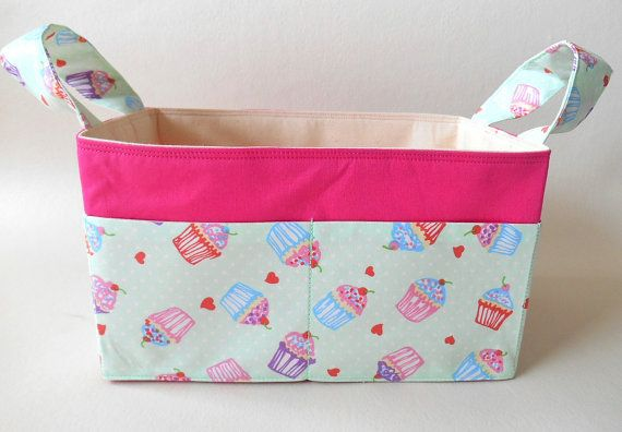 Fabric Basket Cupcakes Mint and Pink with Pockets, Diaper Caddy, Storage Basket, Nursery, Desk Storage, Make-up Organiser, Knitting Basket