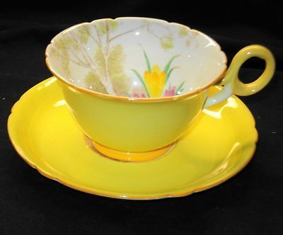 SHELLEY ART DECO BUTCHERS CROCUS CHESTER TEA CUP AND SAUCER