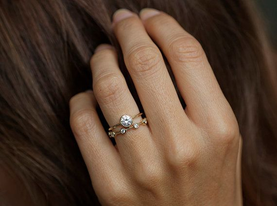 Solitaire Diamond Engagement Ring Simple Engagement by capucinne