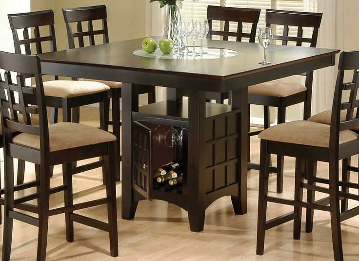 Coaster Hyde Counter Height Square Dining Table With Storage Base In  Cappuccino(Table Only) The Sq. Counter Table Features A Built In Frosted  Glass Lazy Part 49