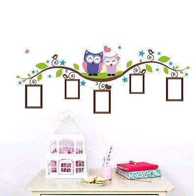Owls frames wall decal sticker baby nursery girl boy bedroom home decor