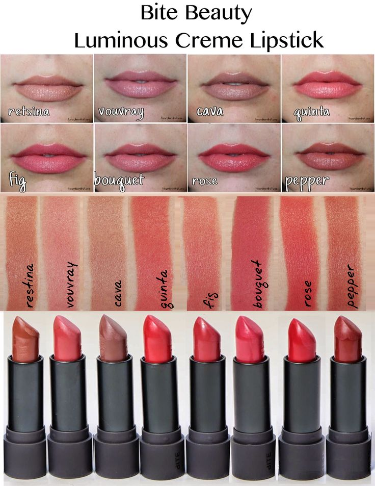 Bite Beauty Luminous Creme Lipstick Swatches Colors