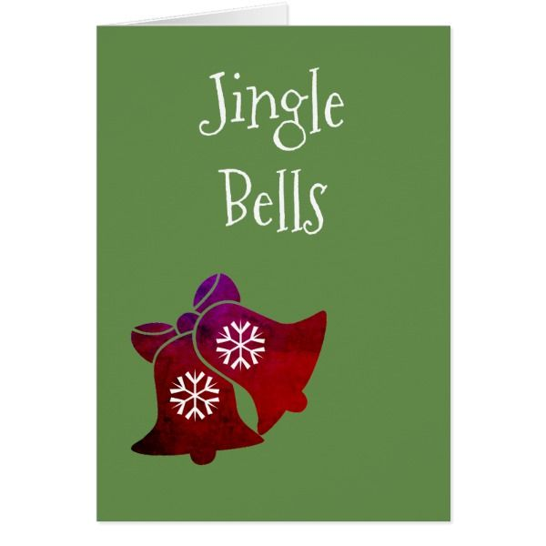 Jingle Bells Christmas Personalize Greeting Card #cards #christmascard #holiday