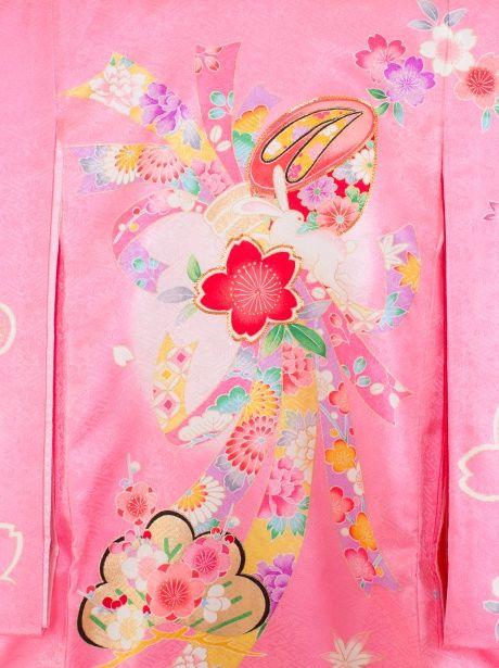 【お宮参り・産着5点フルセット】ピンク地に束ね熨斗とウサギの祝い着/女児《赤ちゃんの宮参りに》可愛らしい意匠が特徴的な初着/ピンク