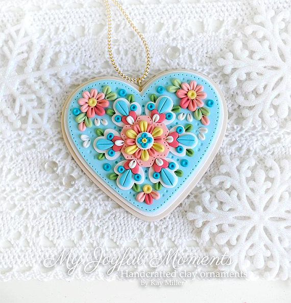 Handcrafted Polymer Clay  Heart  Ornament
