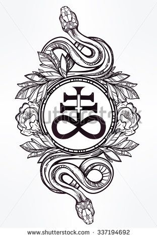 Hand-drawn vintage tattoo art. Vintage symbol, highly detailed hand drawn snakes with Satanic cross, symbol of Satan in linear style. Engraved isolated vector art.