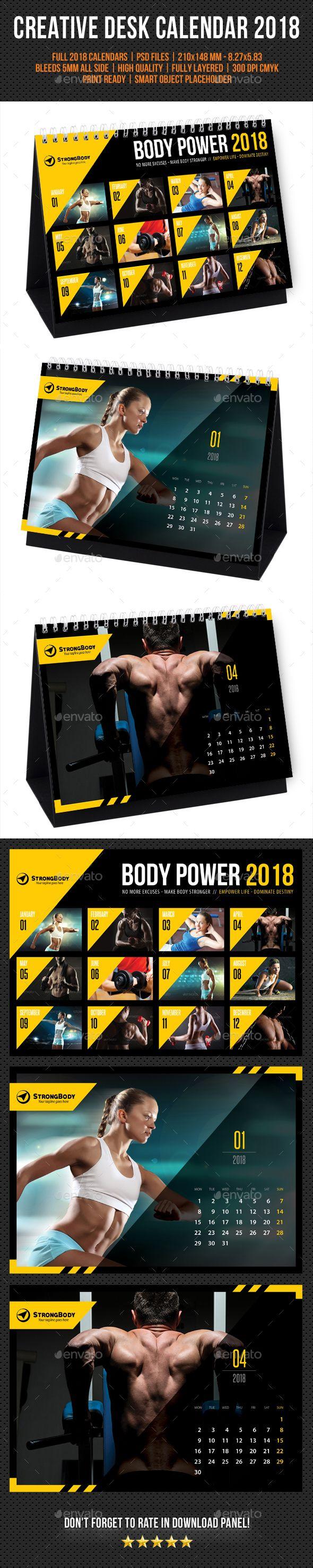 #Creative #Desk #Calendar #template #2018 V30 - Calendars #Stationery #fitness #gym #muscle #design. download: https://graphicriver.net/item/creative-wall-calendar-2018-v03/20324787?ref=yinkira