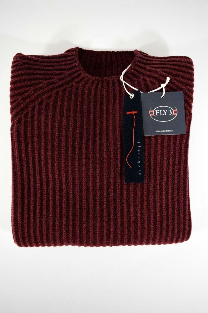 NWT FLY3 pullover uomo REVERSIBILE maglione GIROCOLLO lana vergine A/I tg.48(IT)