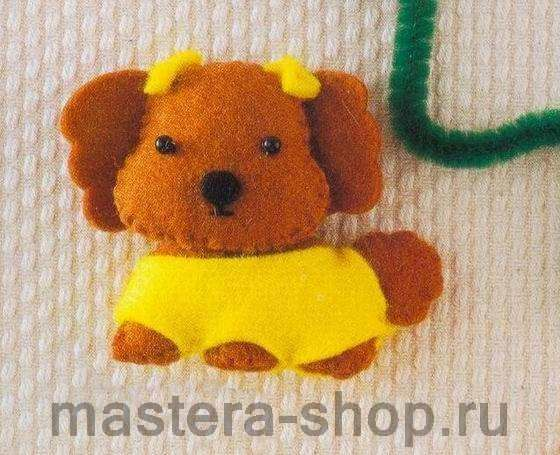 Выкройка игрушки: Собачка с бантиками