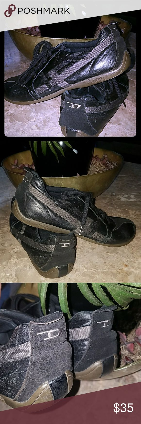 Womens Sz 10/Mens Sz 8 Diesel Dress Sneakers Used but LOTS of life left. No tears,  rips,  holes,  stains,  etc. Shoe strings aren't shriveled and they still look GREAT!! Diesel Shoes Sneakers
