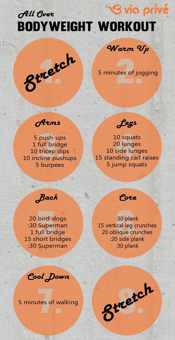 All Over Body Weight Workout (for home!)/ I wish I knew what all of these were. Oh, well, I'll pin it and look them up later.