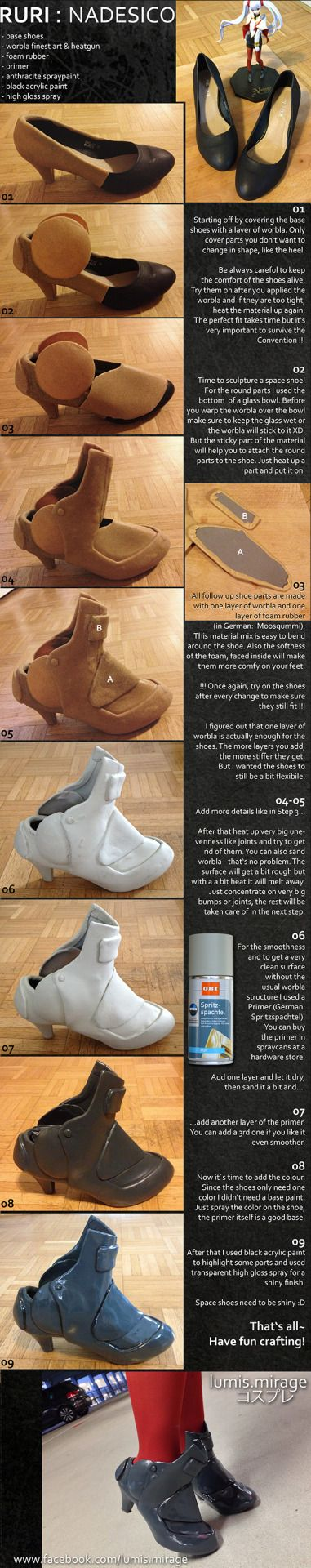 I love this! Really great Worbla Shoe Armor Tutorial by Lumis-Mirage on Deviantart!