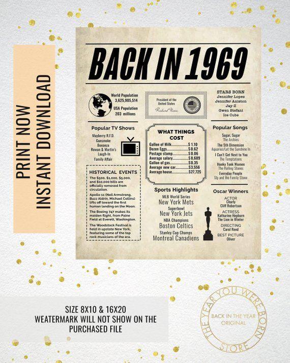 1969 newspaper poster  birthday poster printable  time