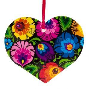 Polish heart shaped folk ornament / Kolorowa FOLK ozdoba choinkowa - serce - łowicka czarna