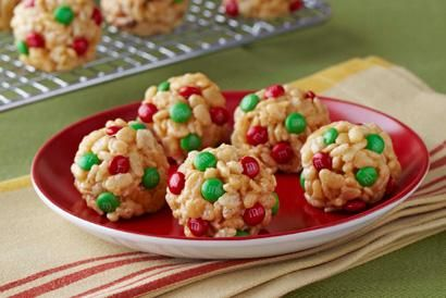 Jingle Bell Balls: Peanut Butter, M&M's, Marshmallows, and Rice Krispies.