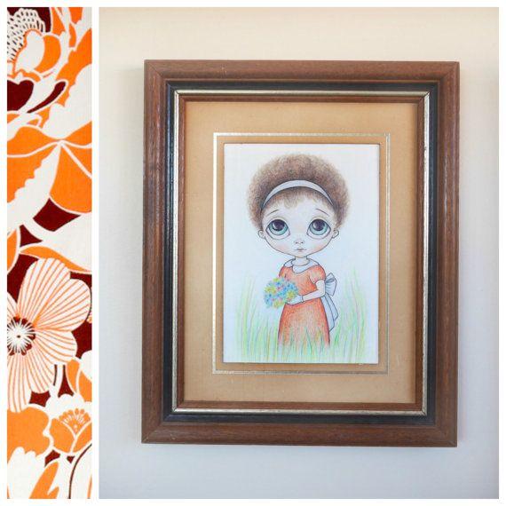 Ozz Franca Inspired Big Eyed Art Print 5x7 - Pop Surrealism Art, Vintage Style, Kitsch Art, Afro Girl, Retro Sad Child - By Nicole Clements
