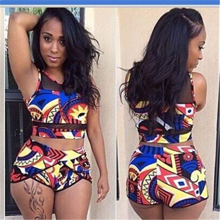 African Print Two Piece High Waist Bikini Set Swimsuit Push Up Swimwear
