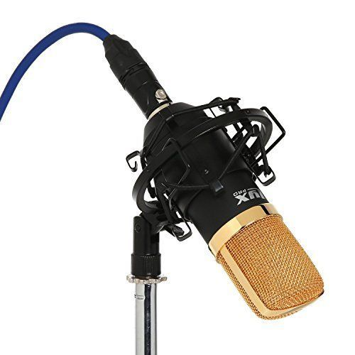 Floureon BM-800 Condenser Studio Recording Microphone and Shock Mount Holder Black