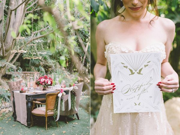 gold white paper goods - photo by Anna Delores Photography http://ruffledblog.com/garden-wedding-inspiration-with-antique-details