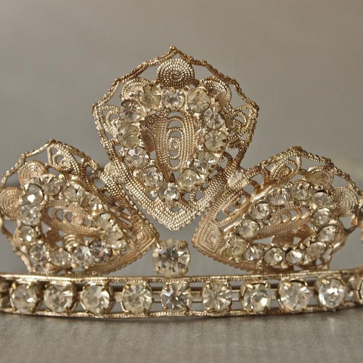 Czech 50's Silver Metal Filigree and Rhinestone Wedding Tiara. $48.00, via Etsy.