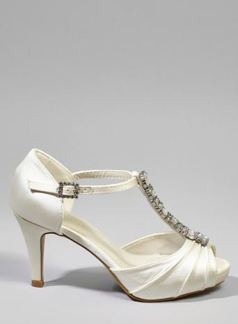 Jewel Embellished T Bar Dancer Heels Ivory Wedding Shoes In 2018 Pinterest And Bridal