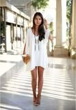 Women Summer Style Party Sexy Chiffon Dress Long Sleeve Beach Vestidos V-neck Casual Loose Unequal Short Plus Size