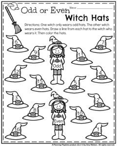 Halloween Kindergarten Worksheets - Odd or Even Number Witch Hats