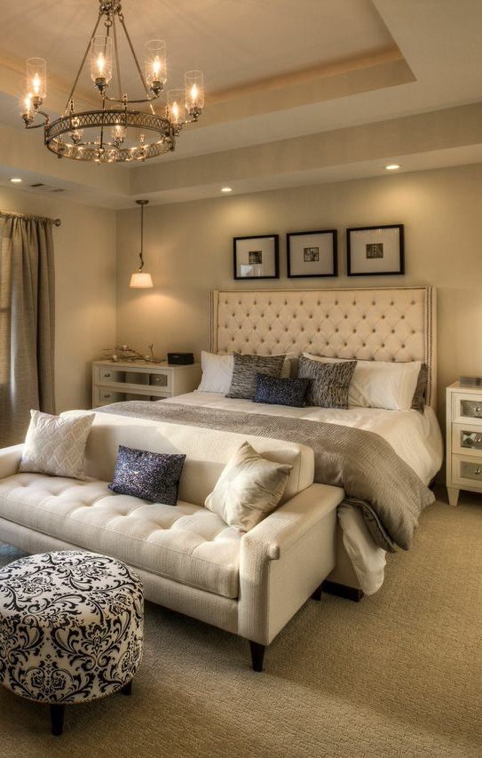 Create a daring aesthetic in your master bedroom with the use of different  lighting fixtures for each part of the room. Seen in Heritage at Crabapp