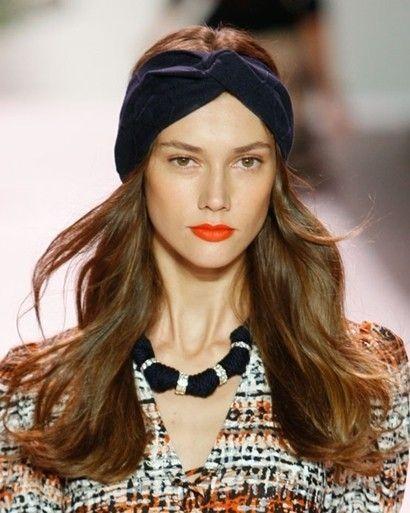 Fascia per capelli in velluto blu