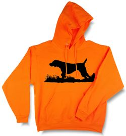 Bird Dog Silhouette, Upland Hunting Blaze Orange Hooded Sweatshirt