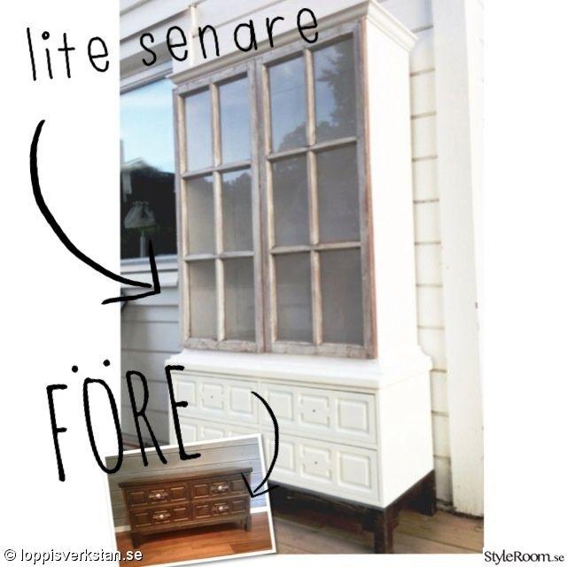 byrå,vitrinskåp,före och efter,gamla fönster