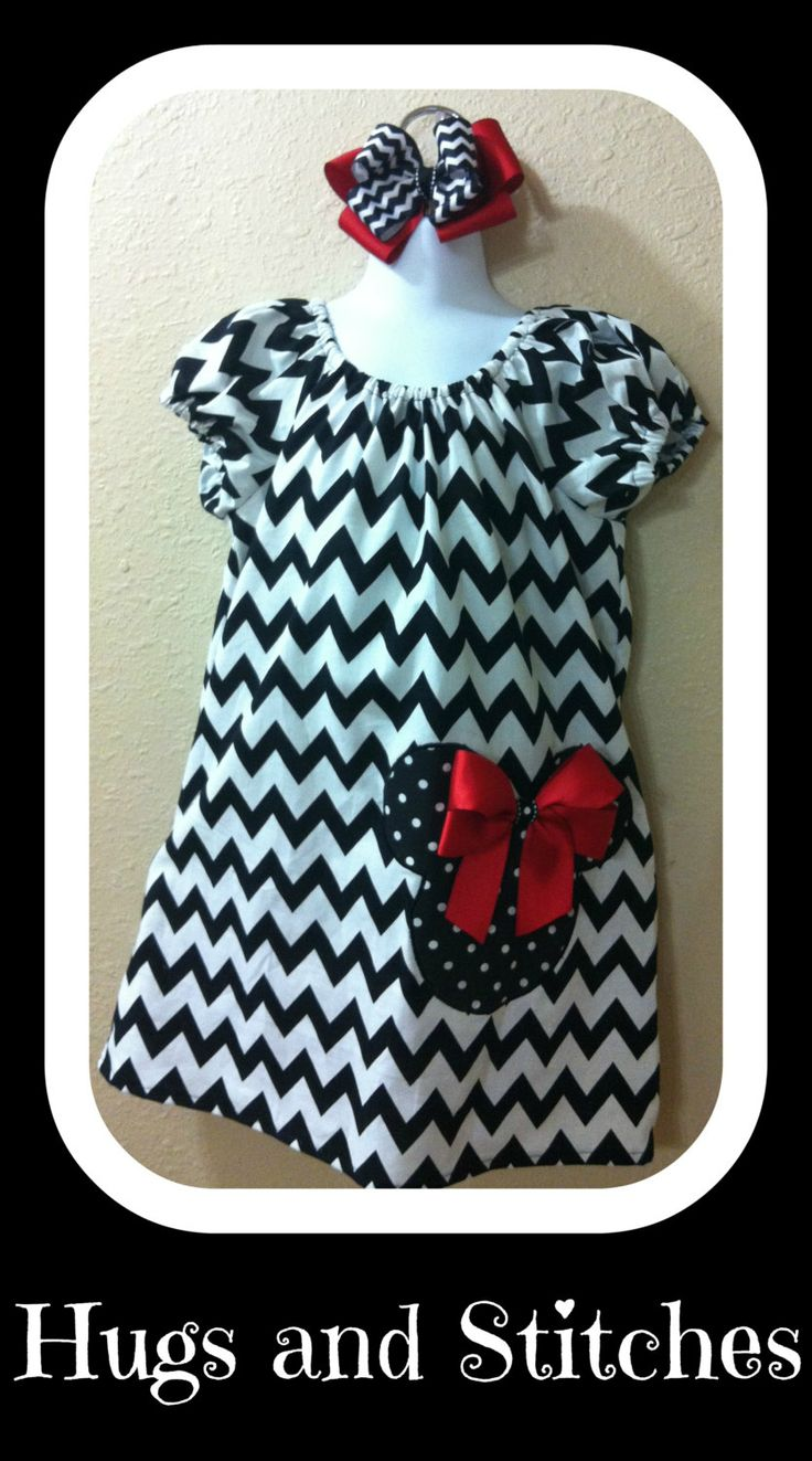 Have some black chevron. May have to make this soon for Raegan!! Chevron Mickey Mouse Dress w/ Cap Sleeves