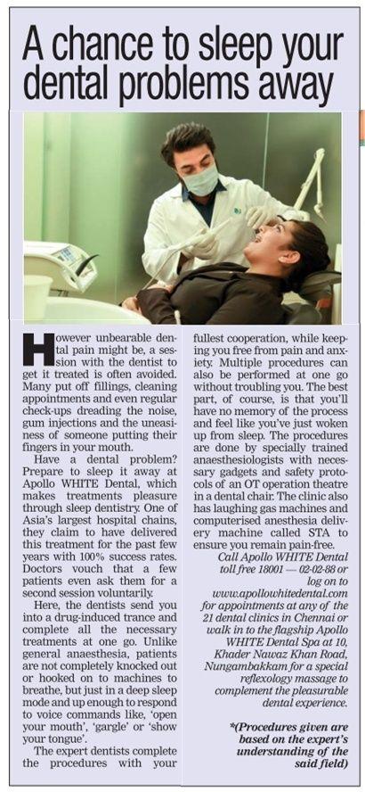 Times of India on Apollo WHITE dentals Sedation Dentistry procedure.
