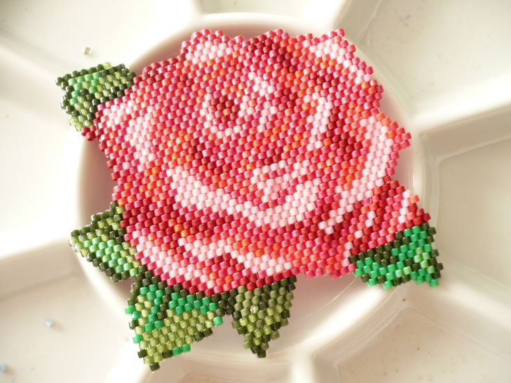 Pink Rose brick stitched by Regina. 2017
