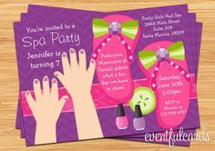 spa+party+ideas+for+girls+birthday | mani pedi spa party kids birthday invitation 15 99 usd buy now on etsy ...