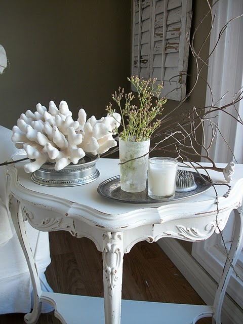 Shabby Chic End Table   Pinned To See The Contrast Between The Lovely Wall  Color And