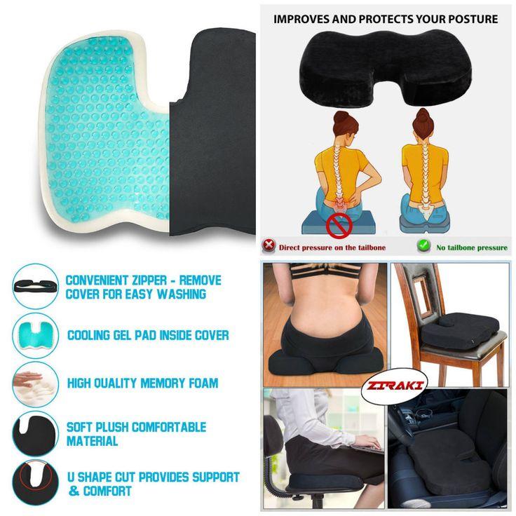 Orthopedic Seat Cushion Foam Memory Chair Car Lumbar Back Pillow Office Support #ZIRAKI