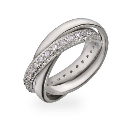 Tiffany Inspired Russian Wedding Ring with CZ Band - evesaddiction.com