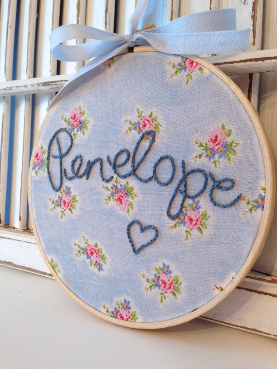 "Made To Order, Nursery Decor, Baby Girl Embroidery Hoop Art, 6"" Hoop, Vintage Inspired Cabbage Rose Fabric on Etsy, $25.00"