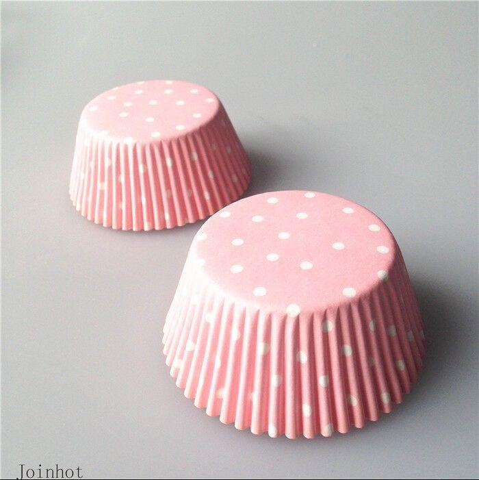 Настоящее 100 шт./лот Розовый Снежинка точка бумага кекс чашки выпечки чашки свадьба кекс лайнеры DIY торт украшения