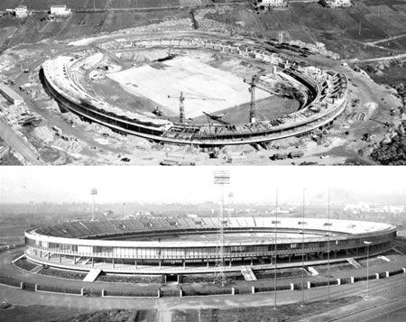 L'immenso cantiere dello stadio e l'opera  appena conclusa. Foto archivio Mazzi Costruzioni.
