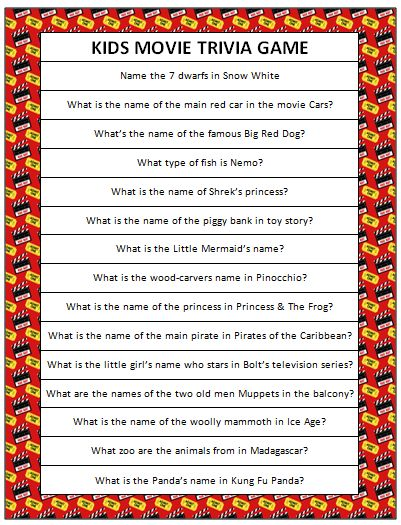 This free printable kids movie trivia is perfect for a family movie night. How many of these can you guess correctly? Do your kids know more of the answers?