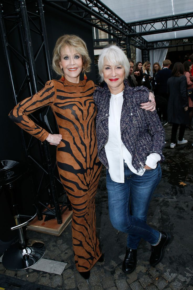 PARIS, FRANCE - OCTOBER 01:  (L-R) HELEN!!!  Actresses Jane Fonda and Helen Mirren attend 'Le Defile L'Oreal Paris show' as part of the Paris Fashion Week Womenswear Spring/Summer 2018 on October 1, 2017 in Paris, France.  (Photo by Bertrand Rindoff Petroff/Getty Images) via @AOL_Lifestyle Read more: https://www.aol.com/article/lifestyle/2017/10/02/jane-fonda-and-helen-mirren-paris-fashion-week/23229723/?a_dgi=aolshare_pinterest#fullscreen