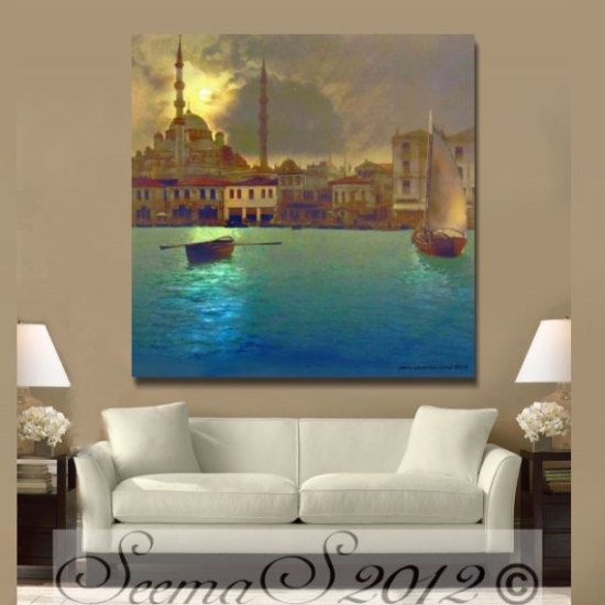Checkout this amazing product Middle Eastern,Turkey,Moonlight, Home Decor,Painting,Canvas Print,Blue,Turquoise / Teal,Large at Shopintoit