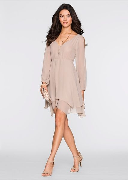 O rochie adorabilă din şifon marca Bodyflirt, prevăzută cu un croi ultra feminin cu decolteu în V atât în faţă cât şi la spate, despicături rafinate pe umeri, mâneci strânse cu elastic şi cusătură elastică sub piept. Model lavabil prevăzut cu fermoar lateral de încheiere, căptuşeală şi o lungime de cca. 90 cm la măr. 38. Material superior: 100% poliester; Căptuşeală: 95% poliester, 5% elastan