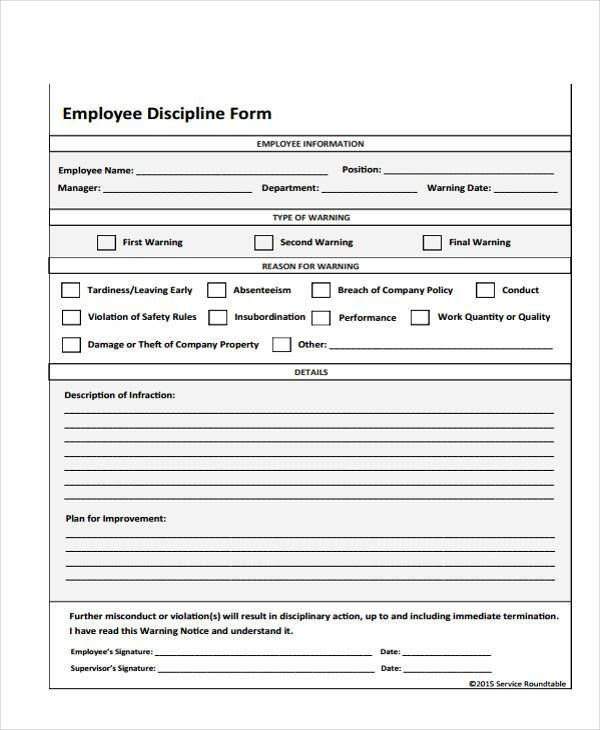 Employee Write Up Form Free Printable Lesson Plan Examples Writing Employee Handbook