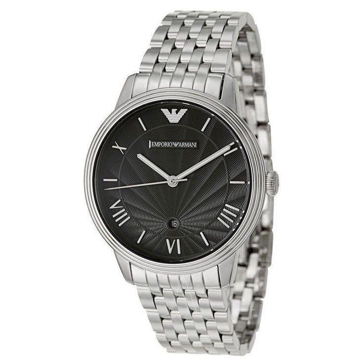 EMPORIO ARMANI Black Dial Stainless Steel Men's Watch AR1614 723763188449   eBay