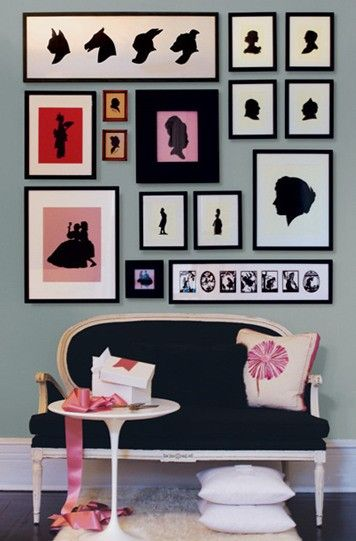 we can never get enough silhouettes.Decor, Wall Art, Ideas, Interiors, Gallery Walls, Gallerywall, Silhouettes, Frames Arrangements, Wall Display